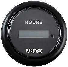 RECKY39201 OUTBOARD ENGINE HOUR METER CLOCK GAUGE 52MM BLACK FACE DIGITAL YAMAHA