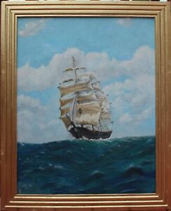 Original oil painting on canvas seascape Clipper Ship at sea signed dated
