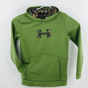 Under Armour Youth XL Loose Hoodie Fleece Lined UA Storm Tech Green Camo Accent $23.15