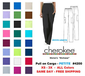 Cherokee Workwear PETITE Women#x27;s Nurse Scrub Pants Style 4200 NEW Free Ship