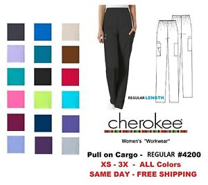 Cherokee Workwear REGULAR Women#x27;s Nurse Scrub Pants Style 4200 NEW Free Ship