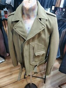 SCHOTT NYC Vintage wool Sage army Retro BIKER Size 38 rare sublime cut New
