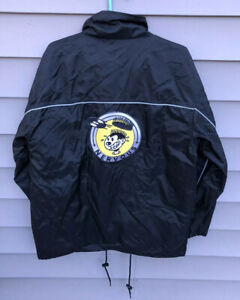 Vintage 90s Nervous Records New York 3M Windbreaker Jacket Black Mens Large Rap