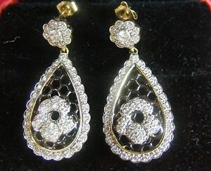 14k Yellow White Black Gold Diamond Flower Scallop Edge Lace Drop Dangle Earring