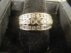 14k White Yellow Gold Channel Bezel Set Round Diamond Ring Anniversary Band