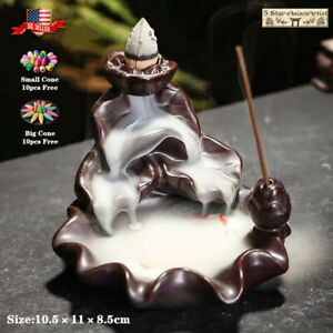 Ceramic Backflow Incense Cone Burner Holder Lotus Waterfall YK021amp; 10 Cones Gift