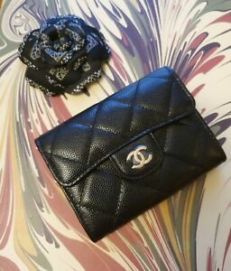 Chanel 20C Black Classic Snap Card Holder XL with new style backpocket and LGHW