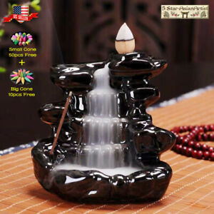 Ceramic Backflow Incense Corn Burner Mountain Waterfall 097 amp; Incense Cone Gift