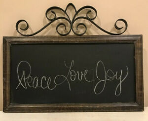 """World Market Wood Framed 15""""x7"""" Chalkboard With Iron Scrollwork Hanging Sign"""