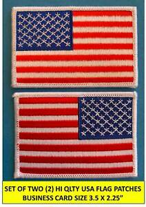 """SET OF 2 AMERICAN USA FLAG EMBROIDERED PATCH LEFT RIGHT WHITE BORDER 3½ x 2¼"""" $3.95"""