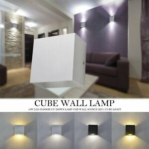 Modern COB 12W LED Cube Wall Light Indoor Outdoor Up/Down Lamp Sconce Fixture