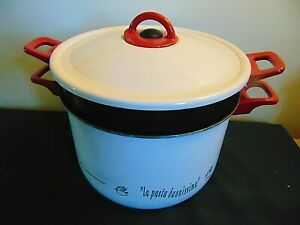 5-6 Qt Enamel & Non-stick Pasta Cooker & Steamer 3 Piece with Vented Cover Lid