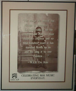 Celebrating R & B Music Everyday poster from ASCAP  with W. E. B. DuBois quote