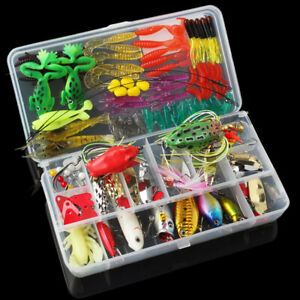 131pcs Fishing Lures Kit Mixed Crankbaits Minnow Hooks Bass Baits Tackle w Box