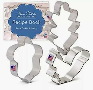 Fall Forest Cookie Cutters 3 Piece Set Ann Clark With Cookbook NEW