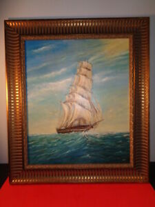 Vintage M Groba Signed Oil on Canvas Painting of Clipper Ship at Sea (20 by 24