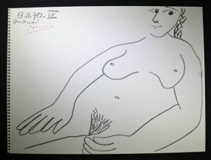 """Pablo Picasso Signed Lithograph from """"Designs Nudes"""" 13.11.70 IV single woman $699.00"""