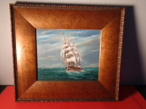 Vintage Unsigned  Oil on Board Painting of a Clipper Ship at Sea (10 by 12