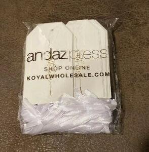"""100 Andaz Press White with Gold Foil Wedding Favor Tags """"With Love"""" White Ribbon"""