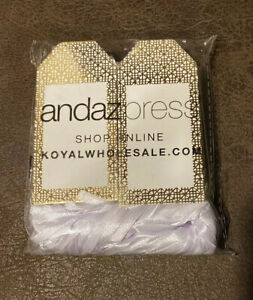 100 Andaz Press White with Gold Foil Wedding Favor Tags With White Ribbon