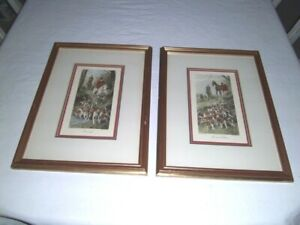 Vtg Pair George Wright HUNT Prints Engravings hand color Gallery framed matted $85.00