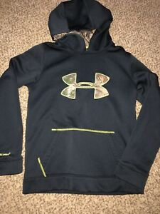Boys Under Armour Storm Coldgear Black Camo Logo Hoodie Youth Large Medium $19.99