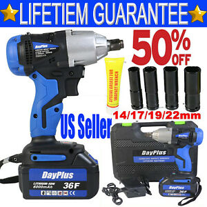 Electric Impact Wrench 1 2quot; Drive Li Ion Cordless Rattle Gun amp; Li Ion Battery