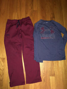 Boys Under Armour Maroon Tapered Snap Pants Heatgear Shirt Outfit Youth Medium $35.99