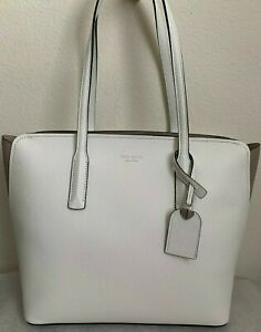 NWT Kate Spade Margaux Medium Tote Leather Bag $278 Optic White Multi PXRUA229