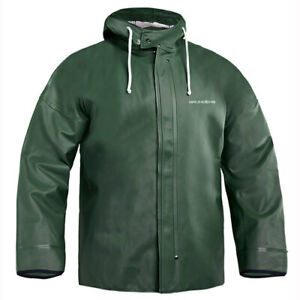 Grundens Brigg 40 Hooded Commercial Fishing Jacket Parka Rain Gear Green L XL