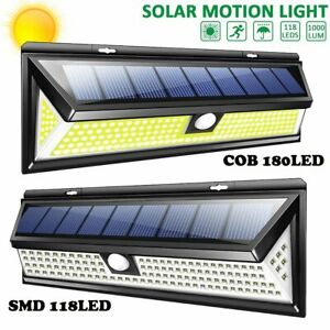 118/180LED Solar Power Security Wall Light Motion Sensor Outdoor Waterproof Lamp