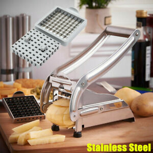 French Fry Cutter w/ 2 Blades Stainless Steel Potato Vegetable Slicer Chopper US