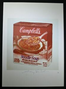 """Andy Warhol Signed Print """"Campbell's Noodle Soup Box"""" 1986.  Hand Signed COA."""