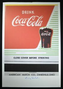 """Andy Warhol Hand Signed Print """"Close Cover Before Striking"""" (Coca-Cola) COA."""