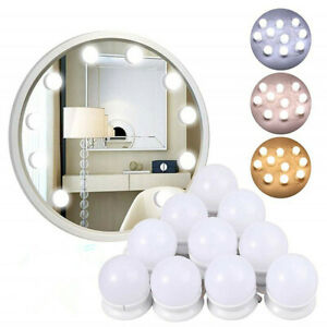 Make Up Mirror Lights 10 LED Kit Bulbs Vanity Light Dimmable Lamp Hollywood US