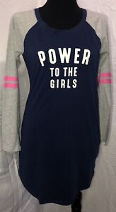 Womens Jenni Knit Blue and Gray Nightgown Size M Power to the Girls $12.99