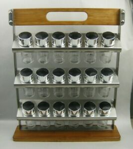 Wood Stainless Steel Spice Herb Rack 3 Tier 18 Glass Jars w/Label - Modern Style