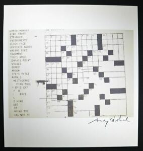 """Andy Warhol Signed Special Print """"Crossword"""" 1964.  Hand signed with COA. $399.00"""