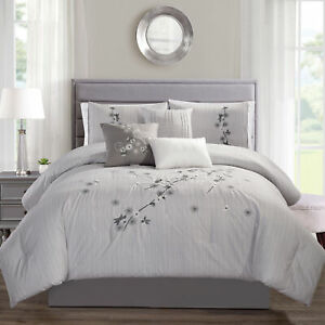 Chezmoi Collection 7 Piece Luxurious Floral Branch Embroidered Comforter Set