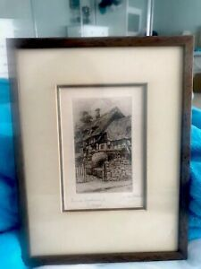 Vintage Signed Etching By N W Ward Anne Hathaway's Cottage