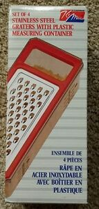 KiMee Stainless Steel Grater Plastic Measuring Container 4 Blades Vintage NICE!.