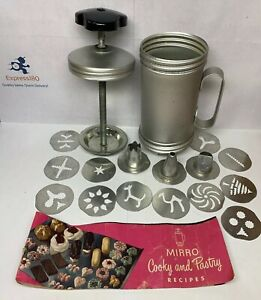 NI VTG Mirror Cookie Pastry Press Aluminum 12 Discs and 3 Tips Good Used Cond. $25.50