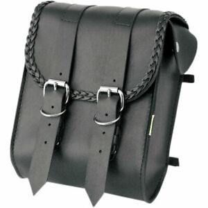 Willie Max Braided Motorcycle Sissy Bar Bag Black Synth. Leather $54.99