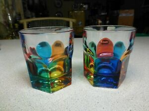Vintage Handmade & Decorated On The Rocks Art Glasses, NOT PAINTED GLASS
