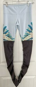 Alo Yoga Goddess Ribbed Leggings YOGA WOMENS SIZE XS XSMALL BLUE GRAY Floral