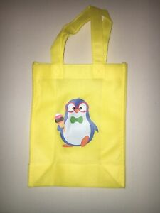 Kids Canvas Resuable Tote Bag 8x10 Penguin Yellow