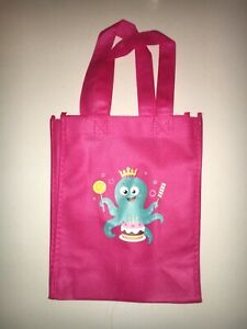 Kids Canvas Resuable Tote Bag 8x10 Octopus Pink