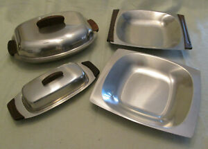 Vintage Stainless and Teak Serving Dishes Made in Denmark Mid Century