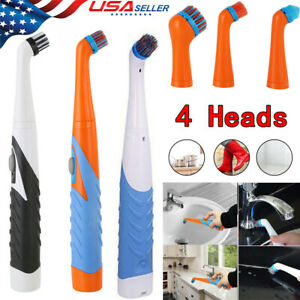 4 Heads Electric Super Sonic Scrubber Cleaning Brush Household All Purpose US