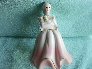 Vintage Porcelain Figurine Victorian Lady Holding a Cat and Flower $22.00